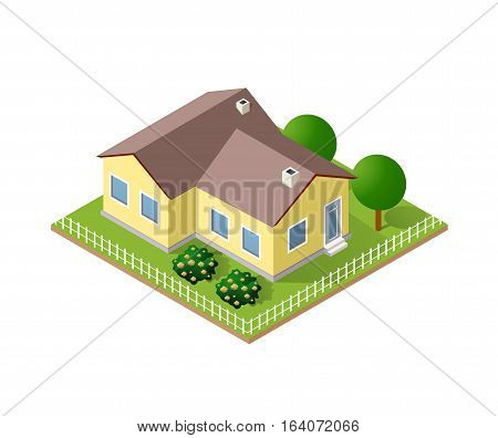 Town House in isometric view with trees and garden