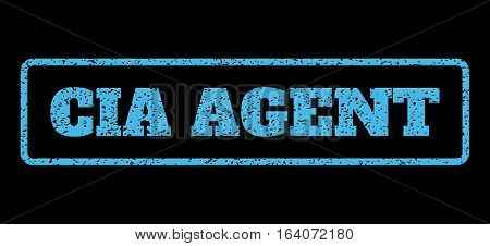 Light Blue rubber seal stamp with CIA Agent text. Vector message inside rounded rectangular shape. Grunge design and unclean texture for watermark labels. Horisontal emblem on a black background.