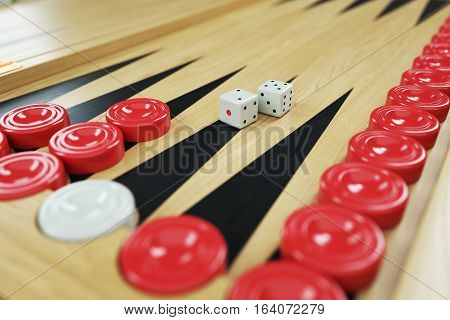 Backgammon game and dices on game board. Closeup. 3d render