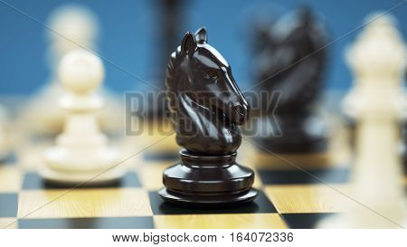 Chess knight on the chessboard. A key figure in the game. 3d