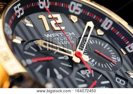 Golden luxury men's wristwatch. Clock face close up. Render 3d