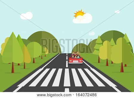 Crosswalk path on road with car, automobile stopped before pedestrian crossing perspective view vector illustration, crossover on forest nature landscape on white background