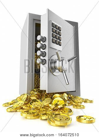 Open safe door and stack coins isolated on white background 3d