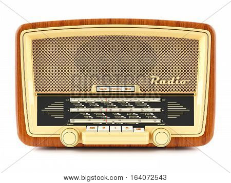 Portable brown retro radio receiver isolated on white background 3d
