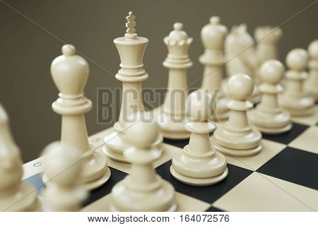 Set of white chess pieces on a chessboard close. 3d render