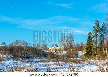Landscape With St. Nicholas Church In The Village Alferovo.
