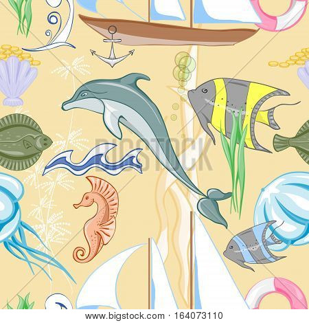 Marine pattern with ship and marine inhabitants. Vector illustration.