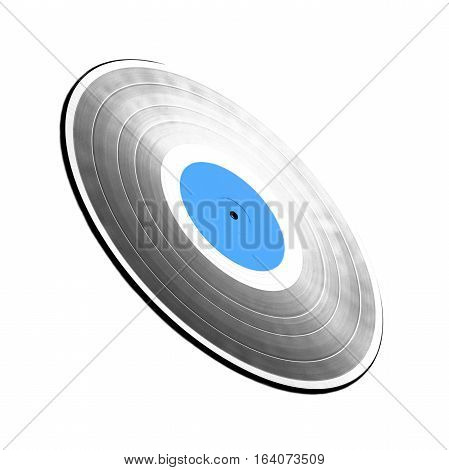 Single black long-play 33RPM vinyl record with blue label isolated on white background. Side view to perspective