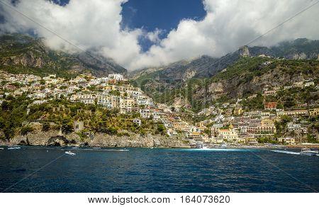 Panorama of Positano town - Amalfi Coast in Italy