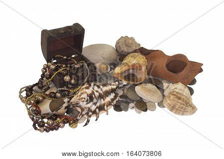 Pirates' treasures. Treasures from the sunken ship on the seabed photo.