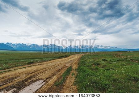 road in a mountainous desert in the summer republic altai