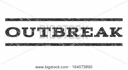 Outbreak watermark stamp. Text caption between horizontal parallel lines with grunge design style. Rubber seal gray stamp with unclean texture. Vector ink imprint on a white background.