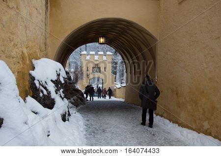 Fussen Germany - December 26 2014: view of main gate of Hohenschwangau Castle in winter time on December 26 2014 near Fussen Germany.