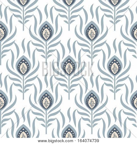 Peacock pastel blue seamless vector pattern. Peafowl feathers tileable print for textile or wrap paper.