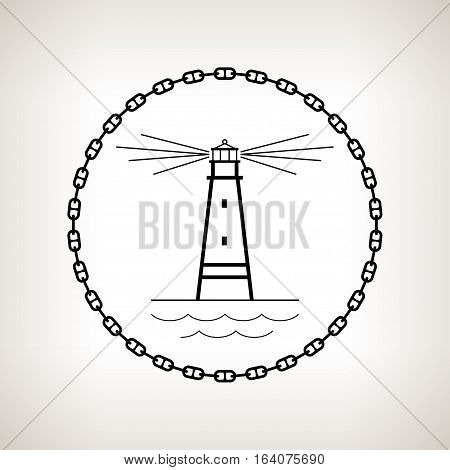 Silhouette lighthouse, contour of the beacon in the circle of the chain on a light background ,black and white illustration
