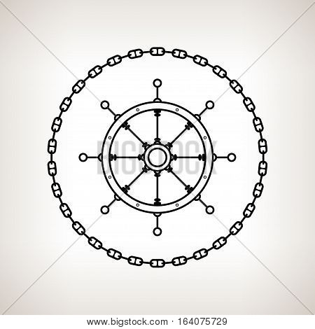 Silhouette ship's wheel, contour of the ship's wheel in the circle of the chain on a light background, black and white illustration