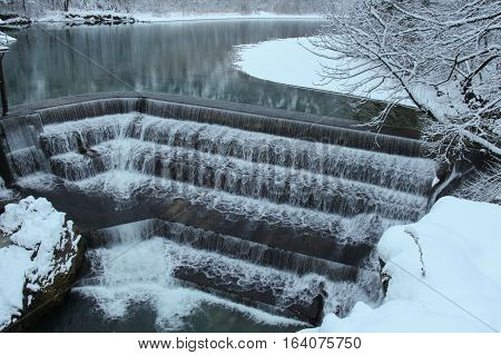 The view of Lechfall in winter time. Fussen. Germany.