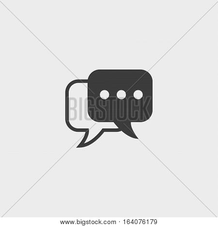 Messege icon in a flat design in black color. Vector illustration eps10