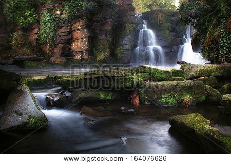 Early morning at the waterfalls in Penllergare woods, Swansea, UK