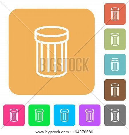 Trash icons on rounded square vivid color backgrounds.