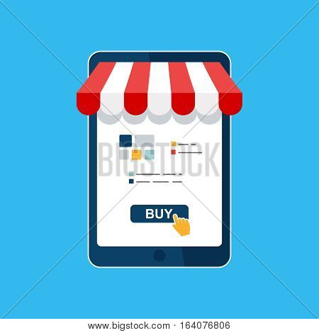 Online shop. Digital Marketing, store, Ecommerce shopping concept. Striped awning, tablet screen buy. Colored flat vector icon isolated on blue. Fashion design for web UI, mobile upp, banner, poster