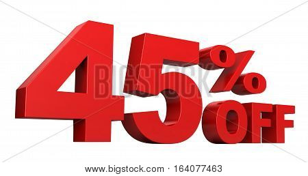 3d render of 45 percent off sale text isolated over white background