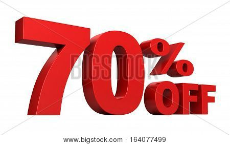 3d render of 70 percent off sale text isolated over white background