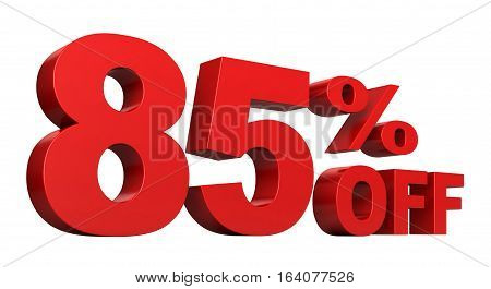 3d render of 85 percent off sale text isolated over white background