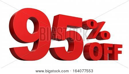 3d render of 95 percent off sale text isolated over white background