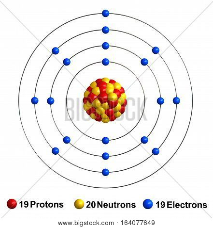 3d render of atom structure of pottasium isolated over white background Protons are represented as red spheres neutron as yellow spheres electrons as blue spheres
