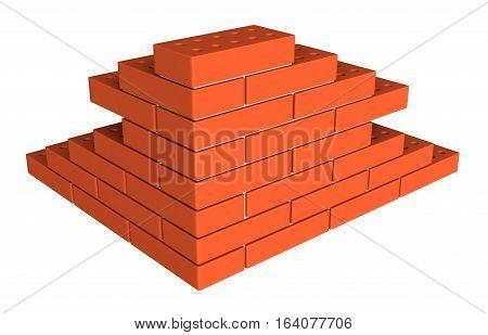 3d render of bricks masonry isolated over white background