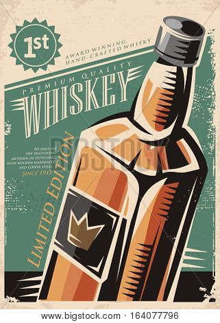 Whiskey retro vector poster design with whisky bottle on old paper background. Drink theme illustration.