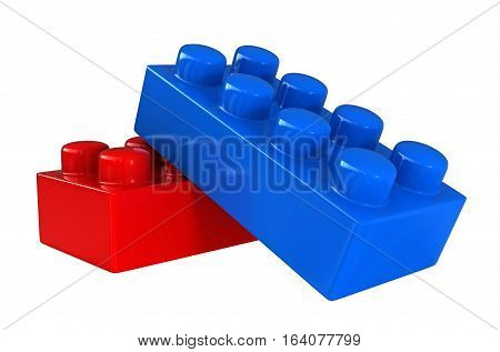 3d render of plastic building blocks isolated over white background