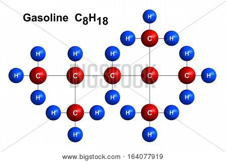 3d render of molecular structure of gasoline isolated over white background Atoms are represented as spheres with color and chemical symbol coding: hydrogen(H) - blue carbon(C) - red