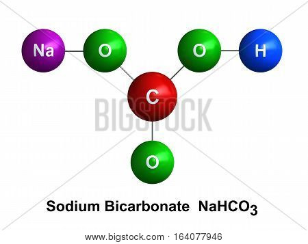 3d render of molecular structure of sodium bicarbonate isolated over white background Atoms are represented as spheres with color and chemical symbol coding: hydrogen(H) - blue oxygen(O) - green carbon(C) - red sodium(Na) - violet