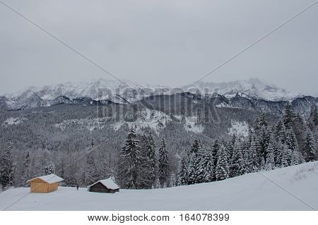 The view of winter landscape with wooden constructions trees and mountains on background near Garmisch-Partenkirchen. Germany.