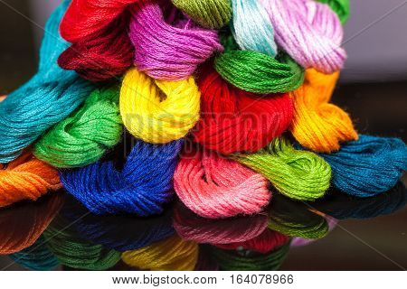 Colorful Embroidery Thread Closeup