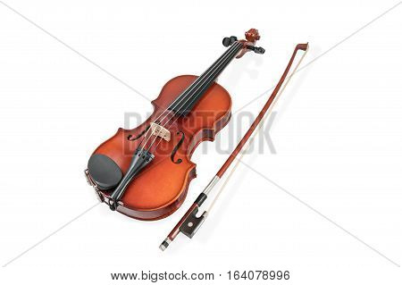 Classical brown violin and bow lying beside isolated on white background
