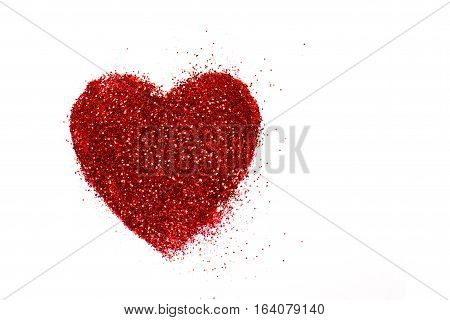 Red Heart On A White Background. Heart Of Glitter Grains. Glitter Makeup