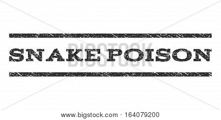 Snake Poison watermark stamp. Text tag between horizontal parallel lines with grunge design style. Rubber seal gray stamp with unclean texture. Vector ink imprint on a white background.