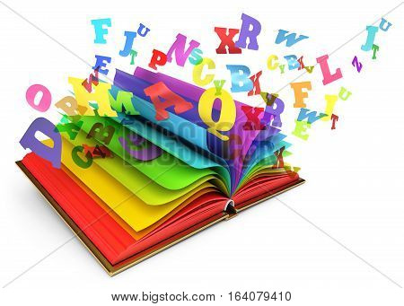 Letters flying out of an open book. Magic book. Fairy tale. Isolated on white background. 3D illustration. 3D rendering