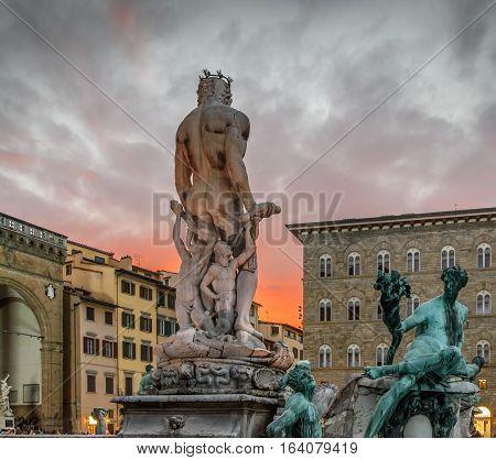 Neptune statue in Piazza della Signoria. Florence, Italy