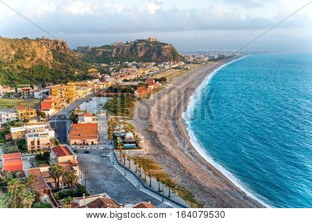The West beach of Milazzo Sicily Italy