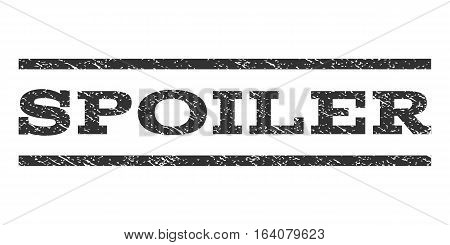 Spoiler watermark stamp. Text caption between horizontal parallel lines with grunge design style. Rubber seal gray stamp with dirty texture. Vector ink imprint on a white background.