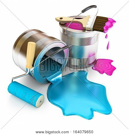 Paint bucket paint roller and paint brush. Banks with a paint of different colours are collected together. Isolated on white background. 3D illustration. 3D rendering