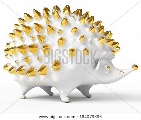 Ceramic hedgehog figurine. Isolated on white background. 3D illustration. 3D rendering