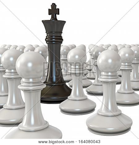 Black king is surrounded by white pawns. Isolated on white background. 3D illustration. 3D rendering