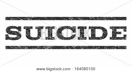 Suicide watermark stamp. Text caption between horizontal parallel lines with grunge design style. Rubber seal gray stamp with unclean texture. Vector ink imprint on a white background.