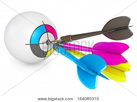 Dart on target. CMYK Print concept design. Isolated on white background. 3D illustration. 3D rendering