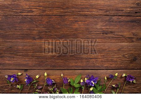 Bluebell flowers on brown wooden table. Top view with copy space
